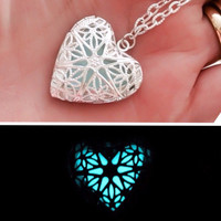 "Magical Frozen Heart ice blue glowing illuminating pendant necklace - silver plated 14"" (childs) 18"" 20"" or 24"" chain love mothers day"
