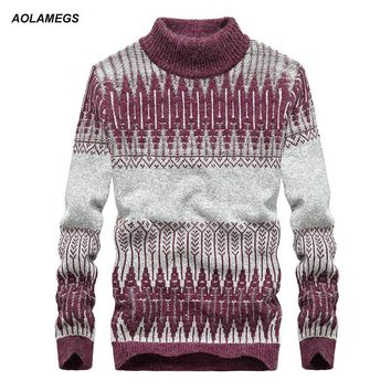 Aolamegs Men Knitted Pullovers Jacquard Winter Warm Soft Sweaters Turtleneck Fashion Casual Brand Male Slim Fit Sweater Knitwear