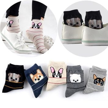 Cute Dogs French Bulldog Pug Husky Schnauzer Socks Funny Crazy Cool Novelty Cute Fun Funky Colorful