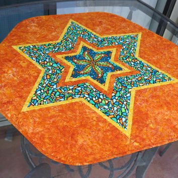 Quilted Batik Table Topper Hexagon Orange 631