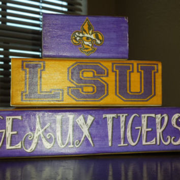 LSU Tiger Eye Fleur De Lis - Trio Wood Blocks Stack - Purple Gold - Home Decor Gift - Louisiana State University