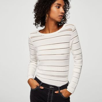 Openwork panel sweater - Woman | MANGO United Kingdom