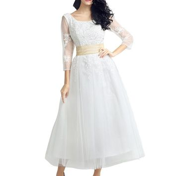 US Shipping Women's Half sleeve tea length dress with appliques white tulle