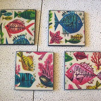 retro nautical coasters mid century vintage 1950's abstract fish rockabilly decor