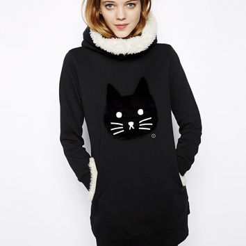 Black Cat Print Fur Hoodie Sweater With Pocket