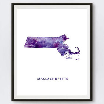 Massachusetts Map Print Watercolor Boston Poster MA Home Office Decor Map Art Massachusetts City Painting Gift Wall Art Digital Download