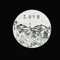 Wooden gift coaster with printed typewriter style text 'LOVE'  - 1 pcs, gift ideas, handmade, love, valentine, old town