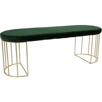 Canary Contemporary Dining / Entryway Bench with Green Velvet, Gold