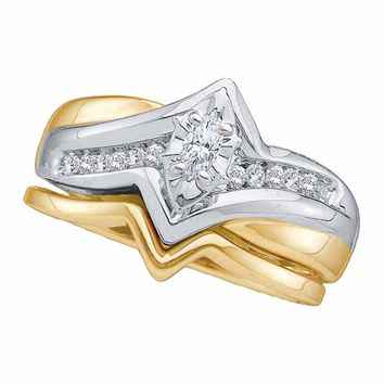 14kt Two-tone Gold Womens Marquise Diamond Bridal Wedding Engagement Ring Band Set 1/5 Cttw