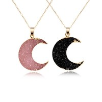 Pink Black Moon Resin Stone Pendant Necklace Women Druzy Drusy Gold Color Chain Necklace for Female Link Chain