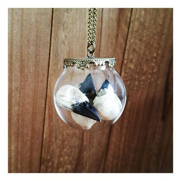 Glass Bulb Globe Pendant with Raven Skull - Gothic Witch Style