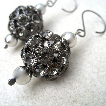 Large Rhinestone Ball Statement Earrings - Black And Silver - Sterling Silver Wires