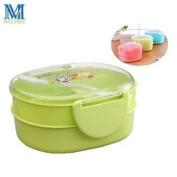 Cartoon School Lunch Box Double Layer Plastic Food Storage Container Microwave Bento Box For Kids