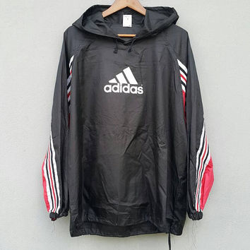 Vintage 90s Black white red stripes ADIDAS equipment logo Techno Training Running pullover Nylon Jacket Windbreaker size M-l hip hop