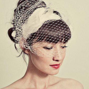 Feather headband with birdcage veil overlay by mignonnehandmade