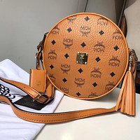 MCM 2019 new high quality female tassel round cake bag shoulder bag Messenger bag
