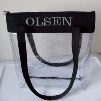 NEW** Monogram Clear Security Stadium Regulation Size Tote/Bag/Purse/Carry All/Game Day/Sports/College/Gift Idea