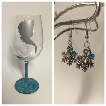 Elsa Wine Glass and Earring Gift Bundle