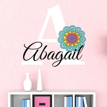 Girls Name Flower Wall Decals - by Decor Designs Decals, Vinyl Wall Decal - Nursery Wall Decal - Girls Wall Decal - Teen Decal - Flower Decal- Rainbow Decals, PP23