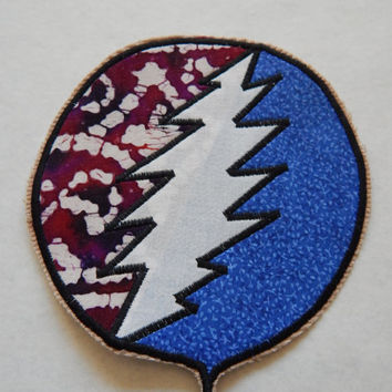 Grateful Dead Patch, Steal Your Face Patch, Stealie Patch,  Handmade Sew On Patch, 5 Inch Sew On Patch, OOAK Patch, Hippie Clothes,