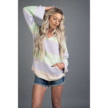 Lavender and Mint Colorblock Hoodie
