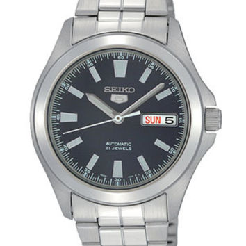 Seiko 5 Automatic Mens Watch - Navy Blue Dial - Steel Bracelet & Case - Day/Date