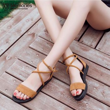 Brand Shoes Woman Flock Gladiator Sandals Women Summer Lace Up Sandals Thick Heels Fringe Summer Beach Women Sandals 35-40 2018