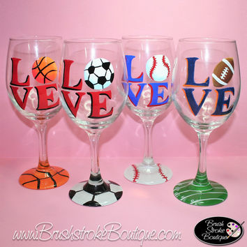 Hand Painted Wine Glass - Love Sports - Original Designs by Cathy Kraemer