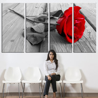 Red Rose Canvas art, Flower Large wall Art, modern wall art, contemporary wall art, large canvas print, extra large canvas art, 4 panels
