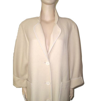 Vintage 70s WEINBERG Paris Winter WHITE Wool Long Manteau Maxi Coat M/L - New never worn Thick Homespun Wool