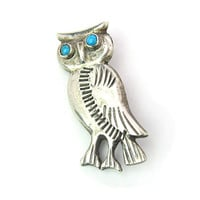 Owl Brooch  Native American Navajo Hand Stamped Sterling Silver Bird Turquoise Cabochon Eyes Southwestern Vintage Figural Jewelry