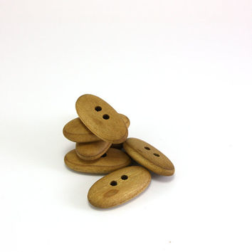 Wooden buttons - Rowan wood 1.1in (28mm) - Handmade natural buttons - Set of 7 oval buttons