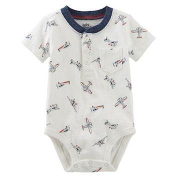 Baby Boy OshKosh B'gosh® Airplane Pattern Henley Bodysuit | null