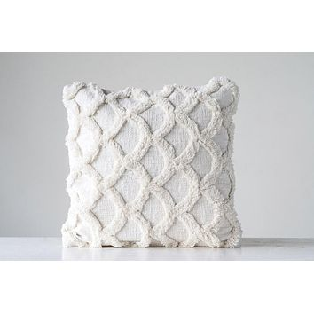 Cotton Chenille Scalloped Pillow - White - 18-in