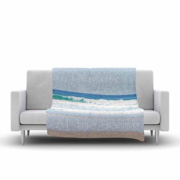 "Sylvia Coomes ""Life Is Better At The Beach"" Tan Blue Fleece Throw Blanket"