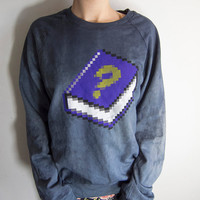 Hand-dyed Windows 95 Help Book 8bit Grimoire Geek Screenprinted American Apparel Raglan Sleeve Sweatshirt
