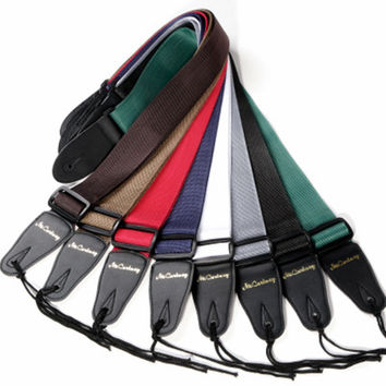 High Quality Acoustic Electric Guitar Strap Leather Bass Guitar Strap Black Brown Blue Red Strap For Guitar Musical Instruments