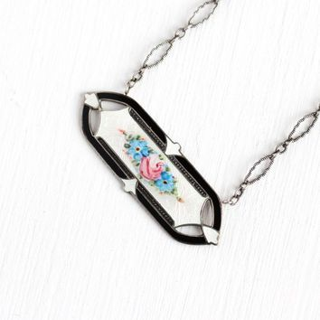 Vintage Guilloché Necklace - Art Deco Sterling Silver Floral Enamel Bar Pendant - 1920s Oval Rose Bar Pin Conversion Jewelry Signed Hermann
