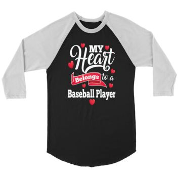 Baseball T-Shirt - My Heart Belongs To A Baseball Player