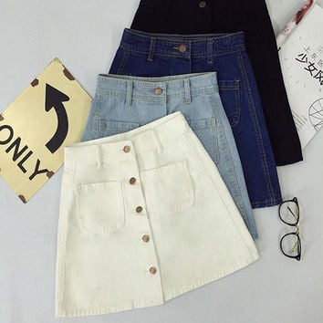 New summer Womens ladies A-line Pencil Jeans Skirt Front Button High Waist Denim small pockets Skirt black white harajuku
