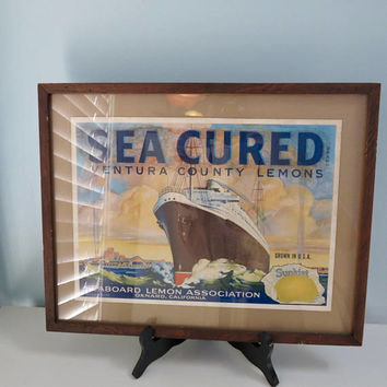 Vintage Framed Fruit Label, Sunkist Lemons, Boat Picture, Oxnard California, Ventura County Lemons, Nautical Decor