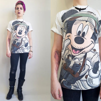 90s Mickey Mouse Tshirt Vintage Disney Shirt 90s Disney Safari Mickey Vintage Mickey Mouse 90s Cartoon Tshirt Vintage Cartoon Small/ Medium