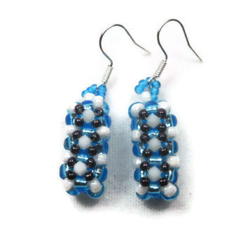 Blue Cube Seed Bead Earrings