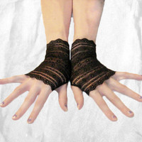 Lilith - Arm Warmers made of black lace with a stripes fingerless gloves wrist cuffs sleeves bohemian nior floral flowers