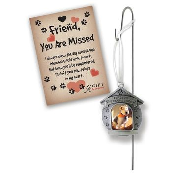 Silver-tone Forever Remembered Dog Ornament W/garden Stake