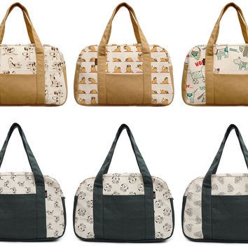 Women's Funny Dog Doodle Patterns Beige Printed Canvas Duffel Travel Bags WAS_19