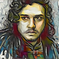 Game of Thrones Original Oil Painting - Jon Snow Brooding - 12x12 to 24x36 painting/poster/canvas; great gift idea