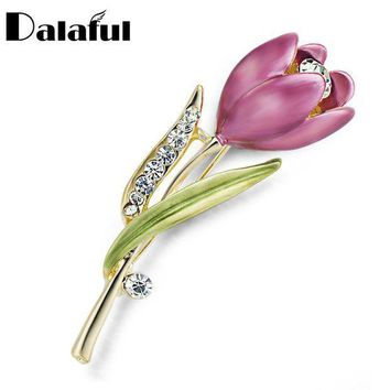 ac PEAPO2Q Elegant Tulip Flower Brooch Pin  Crystal Costume Jewelry Clothes Accessories Jewelry Brooches For Wedding Z014