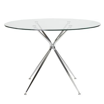 """Atos 42"""" Round Dining Table with Clear Tempered Glass Top and Chrome Base"""