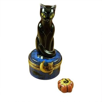 BLACK CAT ON NIGHT SKY SCENE W/ PUMPKIN LIMOGES BOXES